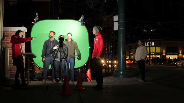 green screen photo booth on the street for experiential campaign
