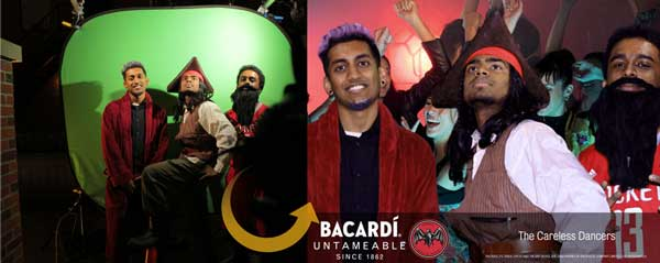 before and after green screen photo booth on experiential bacardi campaign